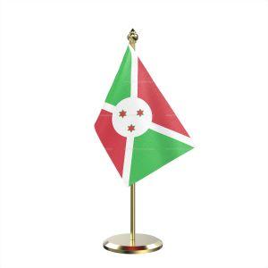 Single Burundi Table Flag With Brass Base And Brass Pole