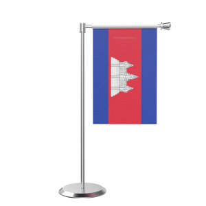 L Shape Table Cambodia Table Flag With Stainless Steel Base And Pole