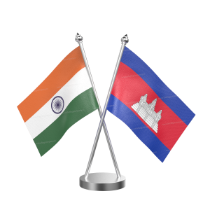 Cambodia Table Flag With Stainless Steel Base And Pole