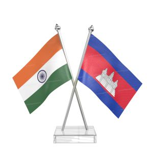Cambodia Table Flag With Stainless Steel pole and transparent acrylic base silver top