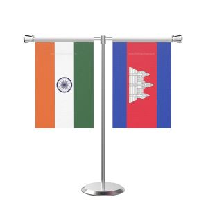 Cambodia T shaped Table Flag with Stainless Steel Base and Pole