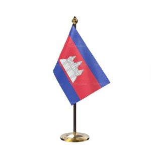 Cambodia Table Flag With Golden Base And Plastic pole