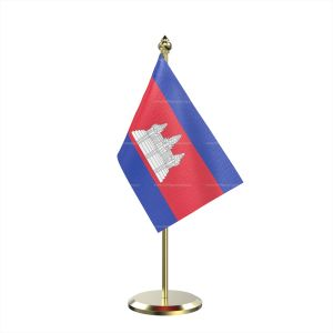 Single Cambodia Table Flag With Brass Base And Brass Pole