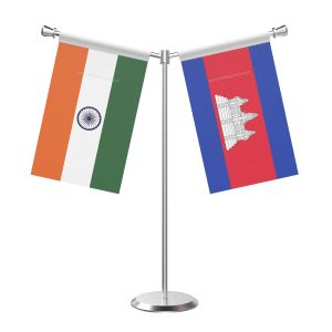 Y Shaped Cambodia Table Flag with Stainless Steel Base and Pole