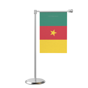 L Shape Table Camroon Table Flag With Stainless Steel Base And Pole