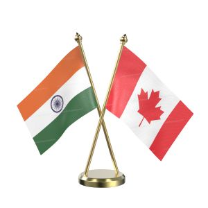 Canada Table Flag With Brass Base And Brass Pole