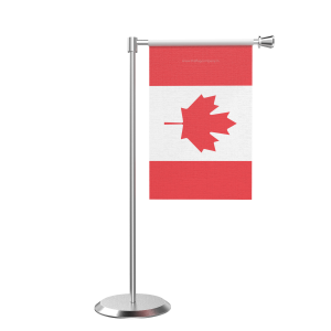 L Shape Table Canada Table Flag With Stainless Steel Base And Pole