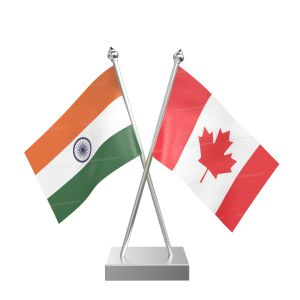 Canada Table Flag With Stainless Steel Square Base And Pole