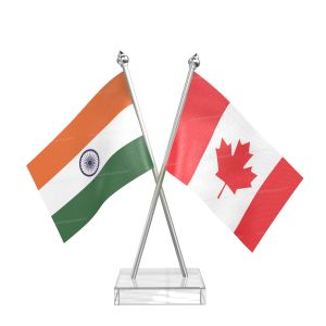 Canada Table Flag With Stainless Steel pole and transparent acrylic base silver top