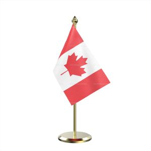 Single Canada Table Flag With Brass Base And Brass Pole