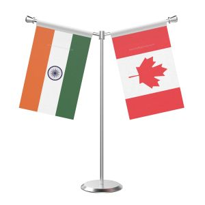 Y Shaped Canada Table Flag with Stainless Steel Base and Pole