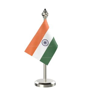 Indian Flag Stand For Car Dashboard – Single stainless steel