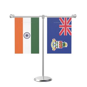 Cayman islandsn T shaped Table Flag with Stainless Steel Base and Pole