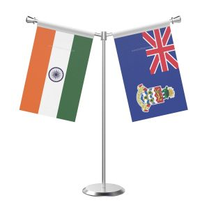 Y Shaped Cayman islandsn Table Flag with Stainless Steel Base and Pole