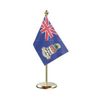 Single Cayman Islandsn Table Flag With Brass Base And Brass Pole