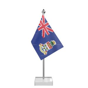 Cayman Islandsn Table Flag With Stainless Steel Pole And Transparent Acrylic Base Silver Top