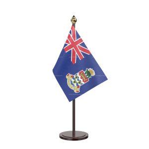 Cayman Islandsn Table Flag With Black Acrylic Base And Gold Top