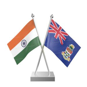 Cayman Islandsn Table Flag With Stainless Steel Square Base And Pole