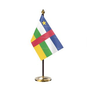 central African rep Table Flag With Golden Base And Plastic pole
