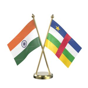 Central African Rep Table Flag With Brass Base And Brass Pole