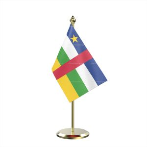 Single Central African Rep Table Flag With Brass Base And Brass Pole