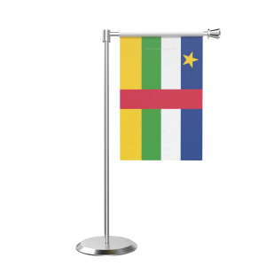 L Shape Table Central African Rep Table Flag With Stainless Steel Base And Pole