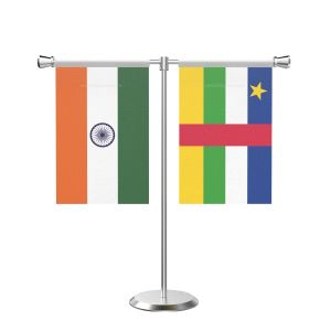 Central african rep T shaped Table Flag with Stainless Steel Base and Pole