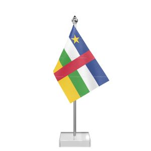 Central African Rep Table Flag With Stainless Steel Pole And Transparent Acrylic Base Silver Top