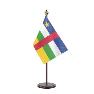 Central African Rep Table Flag With Black Acrylic Base And Gold Top