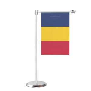 L Shape Table Chad Table Flag With Stainless Steel Base And Pole
