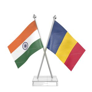 Chad Table Flag With Stainless Steel pole and transparent acrylic base silver top