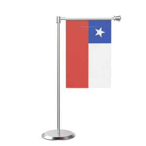 L Shape Table Chile Table Flag With Stainless Steel Base And Pole