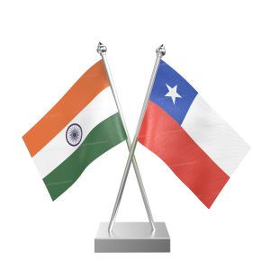 Chile Table Flag With Stainless Steel Square Base And Pole
