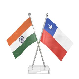 Chile Table Flag With Stainless Steel pole and transparent acrylic base silver top