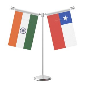 Y Shaped Chile Table Flag with Stainless Steel Base and Pole