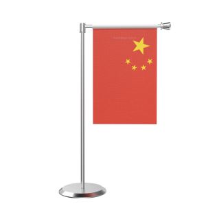 L Shape Table China Table Flag With Stainless Steel Base And Pole