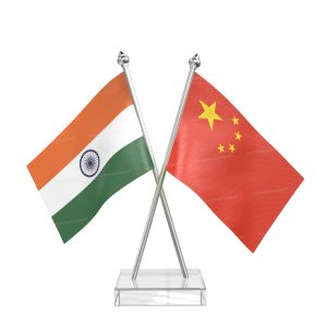 China Table Flag With Stainless Steel pole and transparent acrylic base silver top