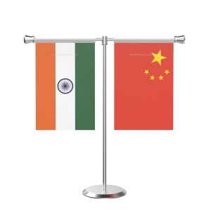China T shaped Table Flag with Stainless Steel Base and Pole