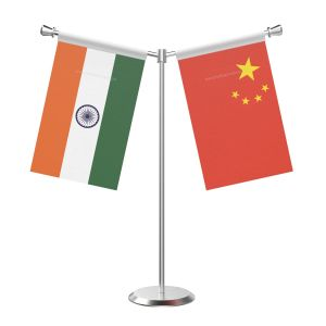 Y Shaped China Table Flag with Stainless Steel Base and Pole