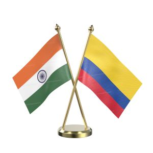 Colombia Table Flag With Brass Base And Brass Pole