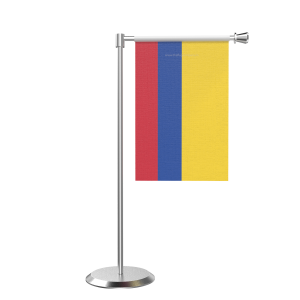 L Shape Table Colombia Table Flag With Stainless Steel Base And Pole