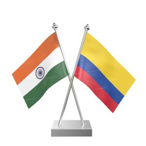 Colombia Table Flag With Stainless Steel Square Base And Pole