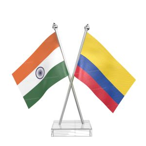 Colombia Table Flag With Stainless Steel pole and transparent acrylic base silver top