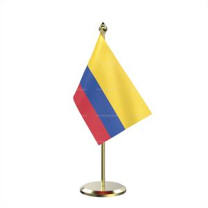 Single Colombia Table Flag With Brass Base And Brass Pole