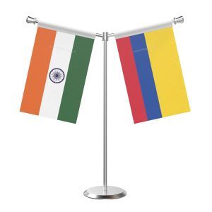 Y Shaped Colombia Table Flag with Stainless Steel Base and Pole