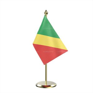 Single Congo, Republic Of (Brazzaville) Table Flag With Brass Base And Brass Pole