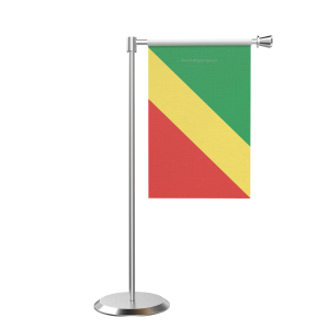 L Shape Table Congo, Republic Of (Brazzaville) Table Flag With Stainless Steel Base And Pole