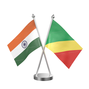 Congo, Republic Of (Brazzaville) Table Flag With Stainless Steel Base And Pole