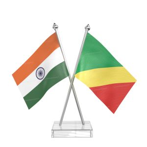 Congo, Republic of (Brazzaville) Table Flag With Stainless Steel pole and transparent acrylic base silver top