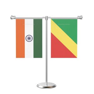 Congo, Republic of (Brazzaville) T shaped Table Flag with Stainless Steel Base and Pole